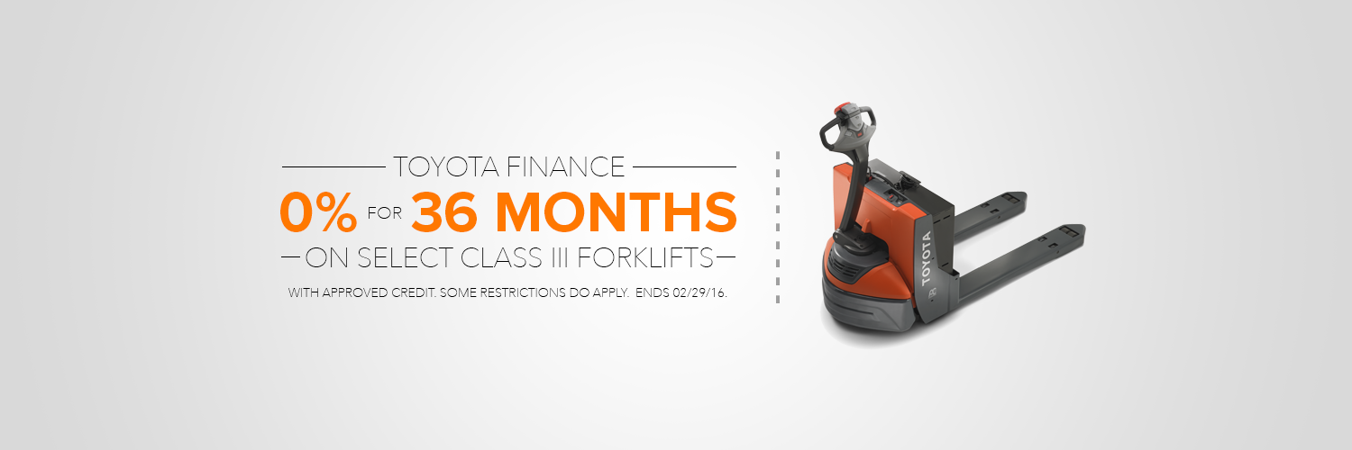 0% Interest for 36 Months on Select Class III Forklifts